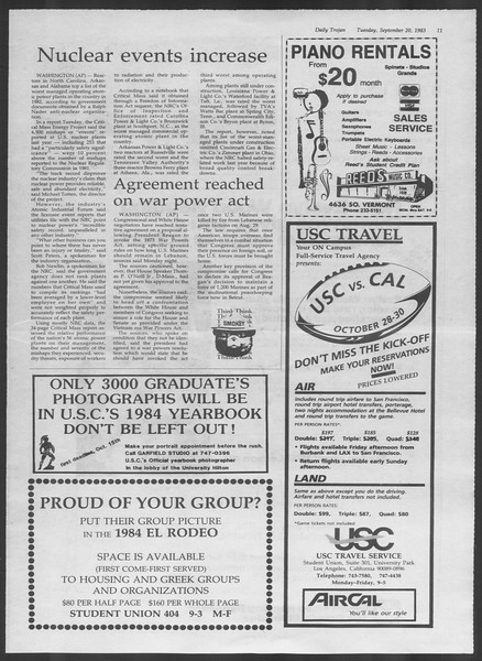 Daily Trojan, Vol. 94, No. 11, September 20, 1983