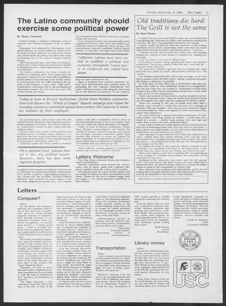 Daily Trojan, Vol. 102, No. 10, September 15, 1986