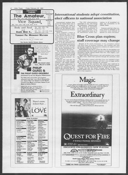 Daily Trojan, Vol. 91, No. 31, February 26, 1982
