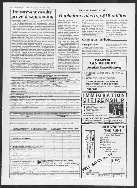 Daily Trojan, Vol. 91, No. 12, September 17, 1981