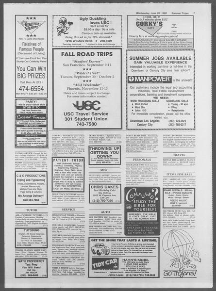 Summer Trojan, Vol. 107, No. 8, June 29, 1988