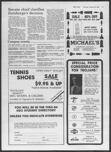 Daily Trojan, Vol. 94, No. 33, October 20, 1983