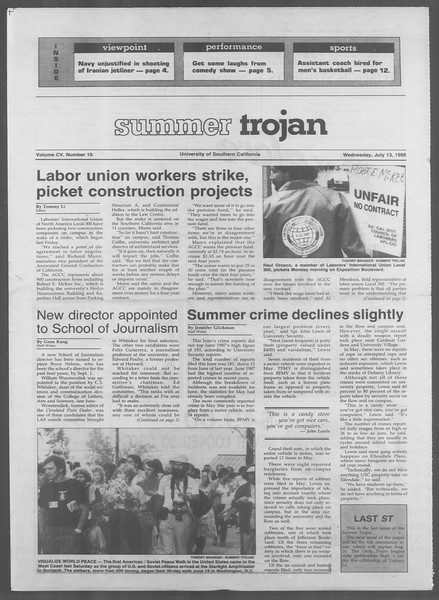 Summer Trojan, Vol. 107, No. 10, July 13, 1988