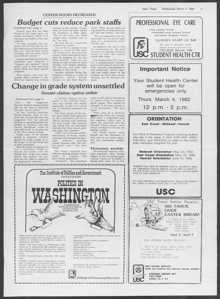 Daily Trojan, Vol. 91, No. 34, March 03, 1982