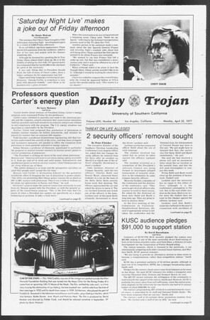 Daily Trojan, Vol. 71, No. 45A, April 25, 1977