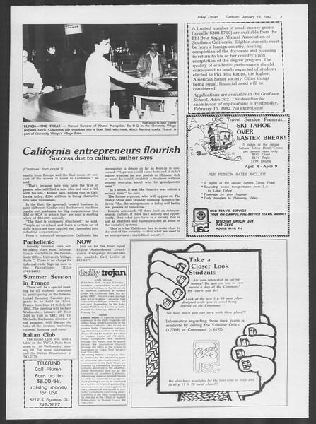 Daily Trojan, Vol. 91, No. 6, January 19, 1982