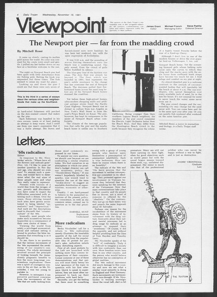 Daily Trojan, Vol. 91, No. 55, November 18, 1981