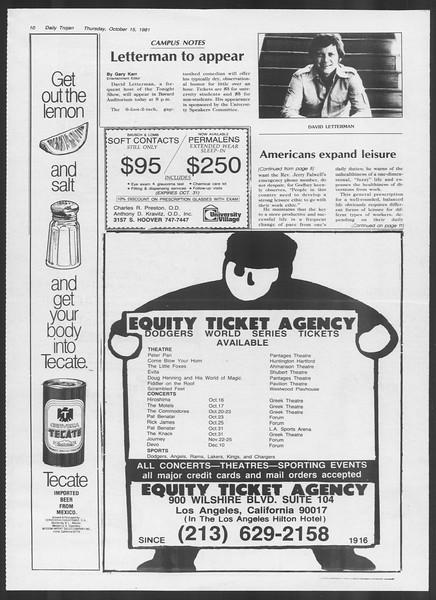 Daily Trojan, Vol. 91, No. 31, October 15, 1981