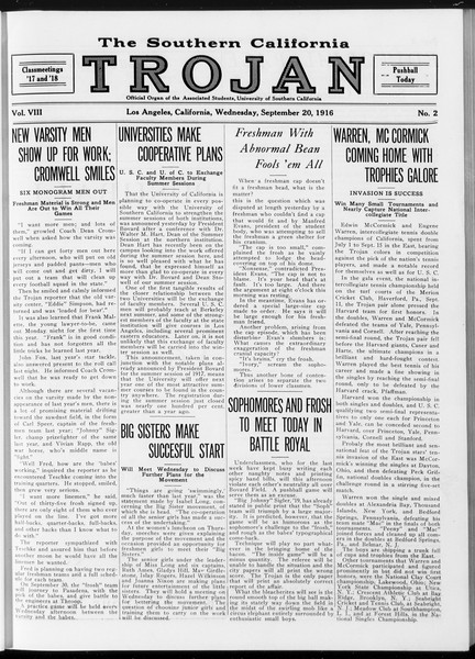 The Southern California Trojan, Vol. 8, No. 2, September 20, 1916