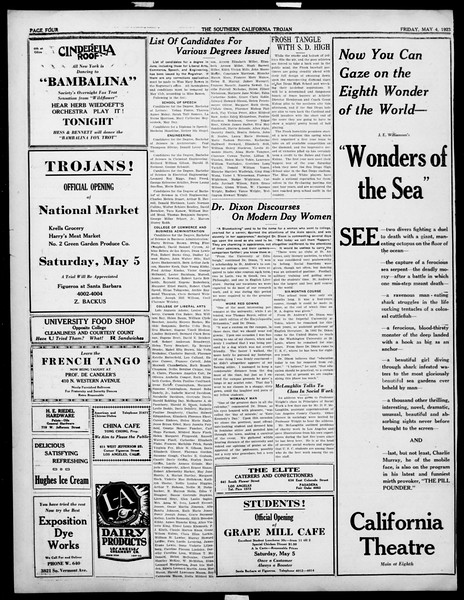 The Southern California Trojan, Vol. 14, No. 87, May 04, 1923