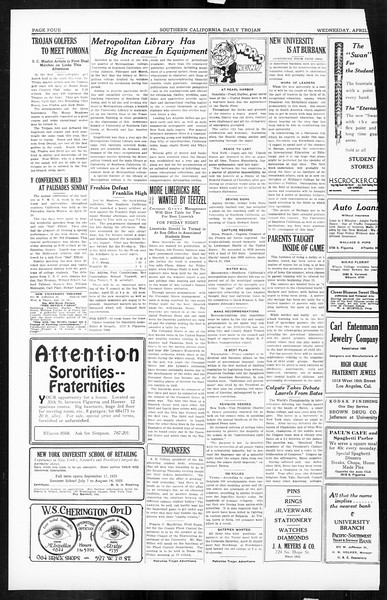 Daily Trojan, Vol. 16, No. 89, April 22, 1925