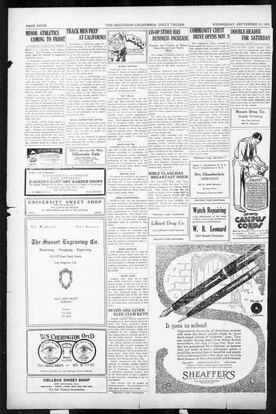 Daily Trojan, Vol. 17, No. 6, September 23, 1925