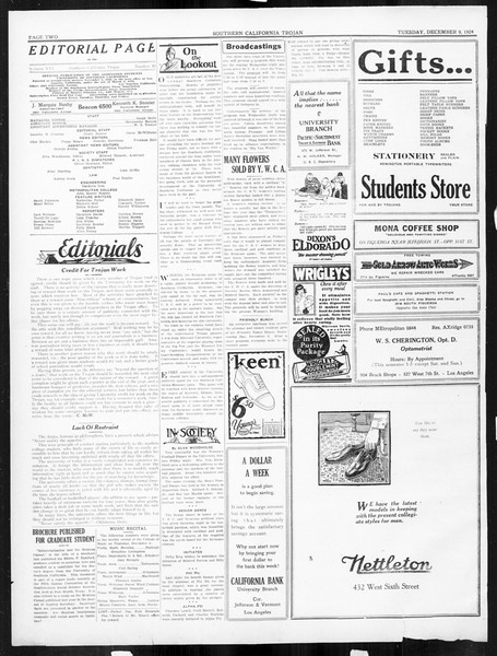 The Southern California Trojan, Vol. 16, No. 30, December 09, 1924