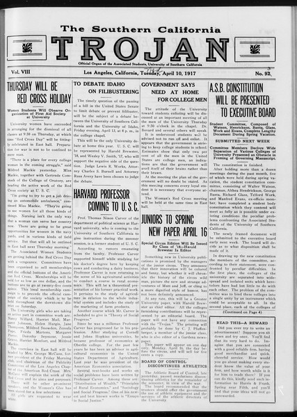 The Southern California Trojan, Vol. 8, No. 93, April 11, 1917