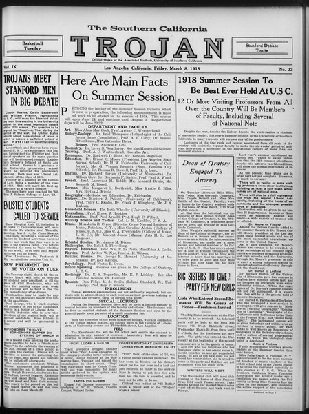 The Southern California Trojan, Vol. 9, No. 32, March 08, 1918