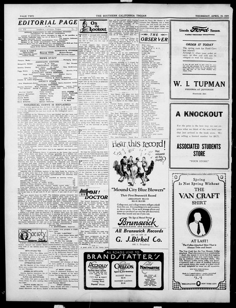 The Southern California Trojan, Vol. 15, No. 73, April 10, 1924