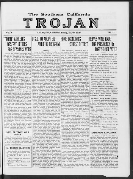 The Southern California Trojan, Vol. 10, No. 21, May 09, 1919