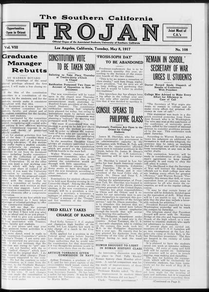The Southern California Trojan, Vol. 8, No. 108, May 08, 1917
