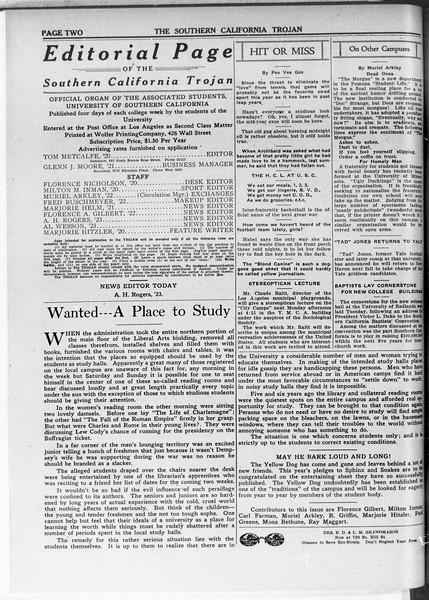 The Southern California Trojan, Vol. 11, No. 44, January 15, 1920