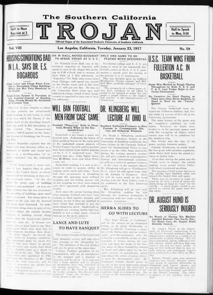The Southern California Trojan, Vol. 8, No. 59, January 23, 1917