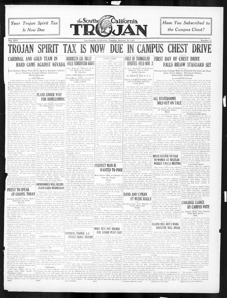 The Southern California Trojan, Vol. 16, No. 17, October 28, 1924