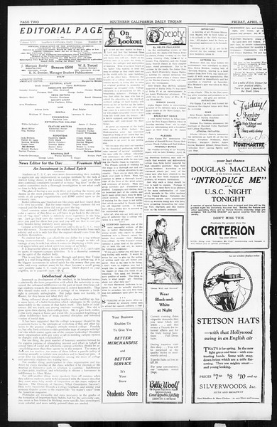 Daily Trojan, Vol. 16, No. 86, April 17, 1925