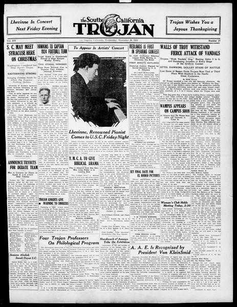 The Southern California Trojan, Vol. 15, No. 27, November 28, 1923
