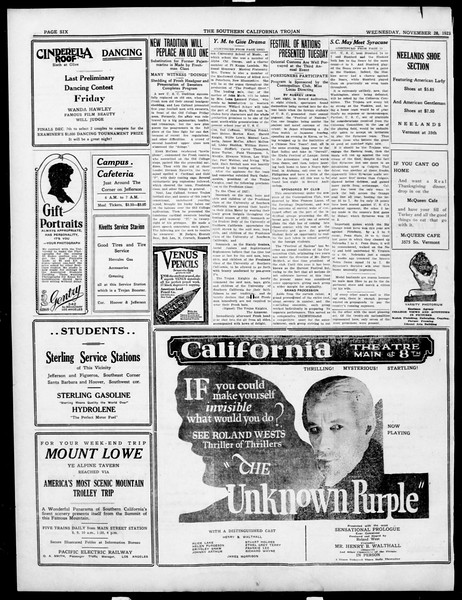 The Southern California Trojan, Vol. 15, No. 27, November 28, 1923