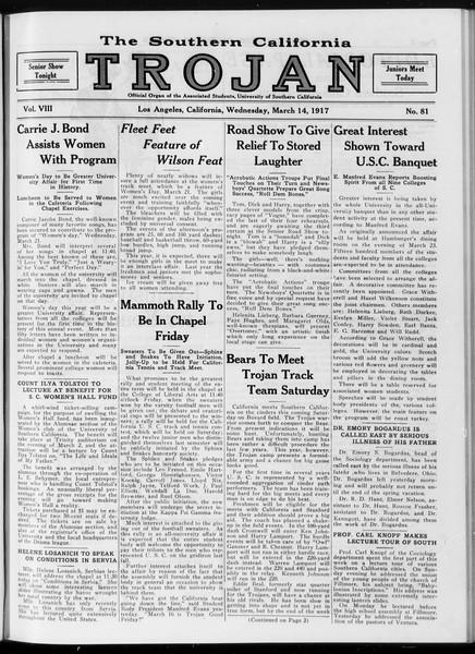 The Southern California Trojan, Vol. 8, No. 81, March 14, 1917