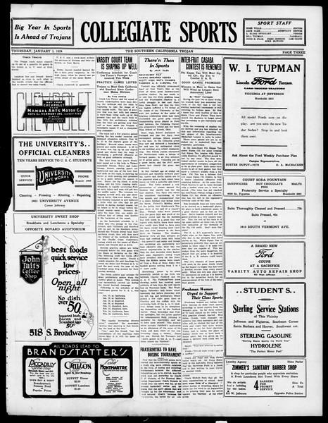 The Southern California Trojan, Vol. 15, No. 36, January 03, 1924