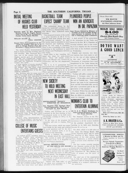 The Southern California Trojan, Vol. 8, No. 20, October 20, 1916