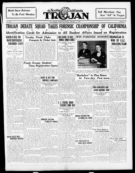 The Southern California Trojan, Vol. 15, No. 47, February 01, 1924
