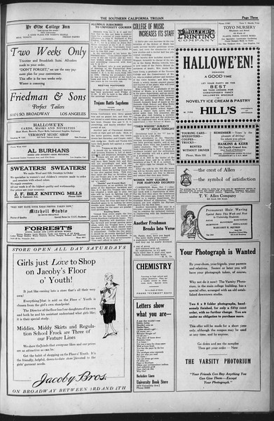 The Southern California Trojan, Vol. 12, No. 20, October 28, 1920