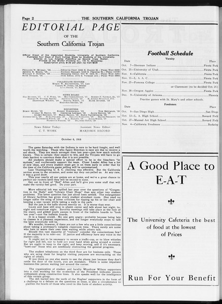 The Southern California Trojan, Vol. 8, No. 12, October 06, 1916