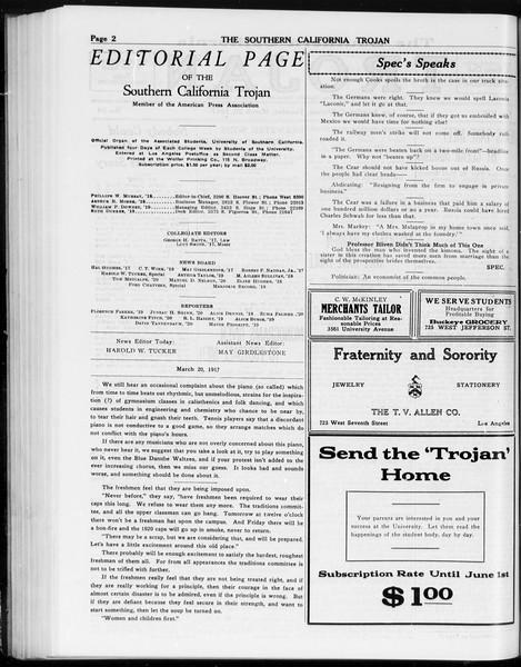 The Southern California Trojan, Vol. 8, No. 84, March 20, 1917