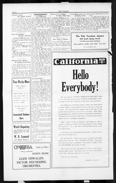 The Southern California Trojan, Vol. 3, No. 9, July 29, 1924