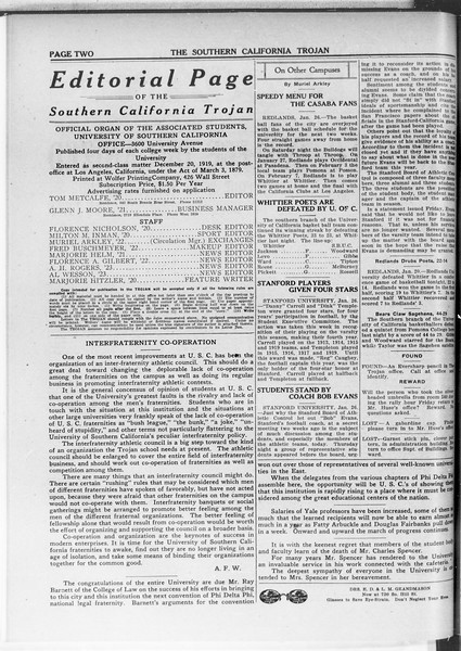 The Southern California Trojan, Vol. 11, No. 49, January 27, 1920