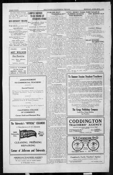 The Southern California Trojan, Vol. 4, No. 1, June 29, 1925