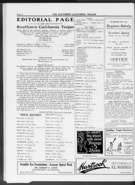 The Southern California Trojan, Vol. 10, No. 22, May 13, 1919