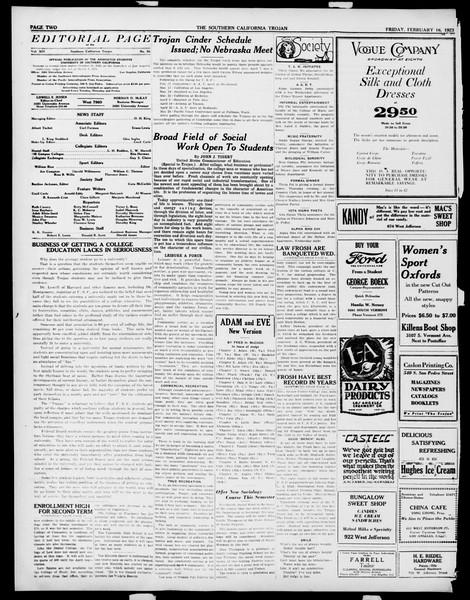 The Southern California Trojan, Vol. 14, No. 56, February 16, 1923