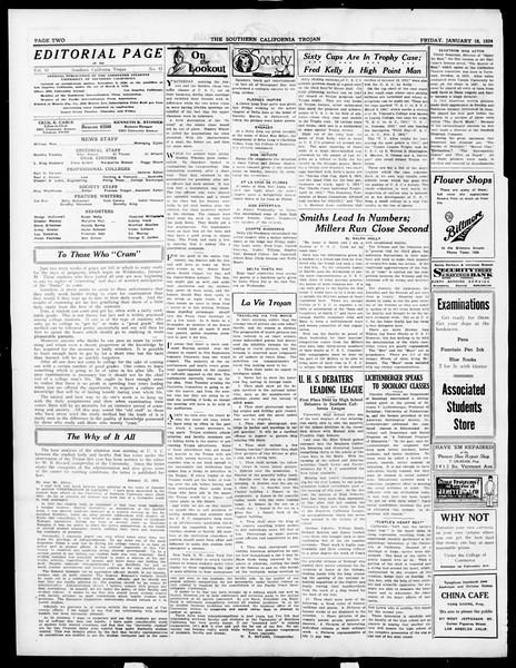 The Southern California Trojan, Vol. 15, No. 43, January 18, 1924
