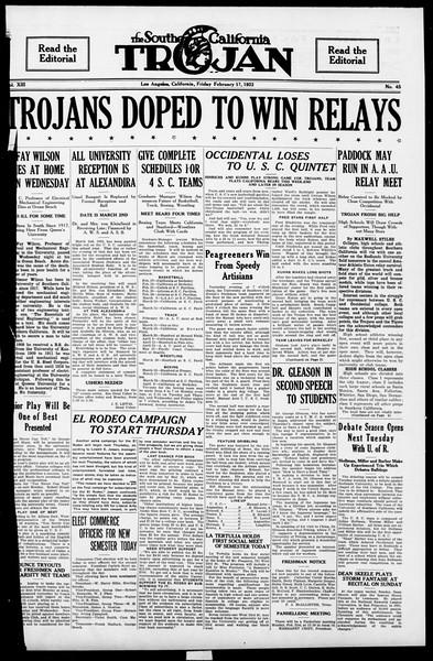 The Southern California Trojan, Vol. 13, No. 45, February 17, 1922