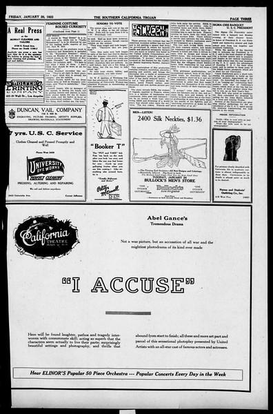 The Southern California Trojan, Vol. 13, No. 39, January 20, 1922