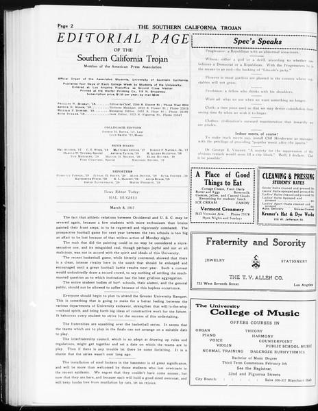 The Southern California Trojan, Vol. 8, No. 78, March 08, 1917