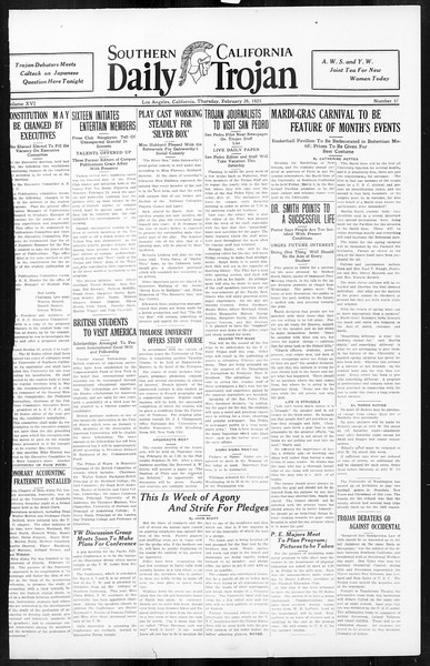Daily Trojan, Vol. 16, No. 57, February 26, 1925