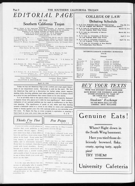 The Southern California Trojan, Vol. 7, No. 98, April 12, 1916