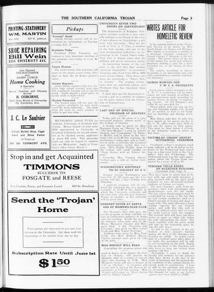 The Southern California Trojan, Vol. 8, No. 69, February 16, 1917