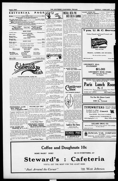 The Southern California Trojan, Vol. 13, No. 43, February 14, 1922