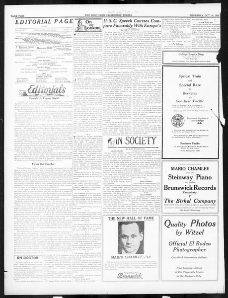 The Southern California Trojan, Vol. 16, No. 12, October 16, 1924