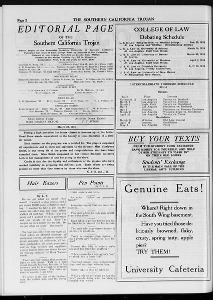 The Southern California Trojan, Vol. 7, No. 92, March 24, 1916